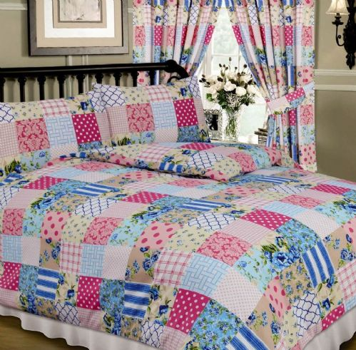 BLUE & PINK COLOUR MULTI PATCHWORK DESIGN REVERSIBLE BEDDING DUVET QUILT COVER SET